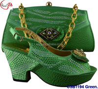 CSB1194 green New designs of low heels shoes/sandals/slippers women shoes matching bag for wedding/party