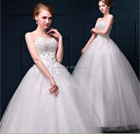 High Quality Appliqued Princess Wedding Dresses / Real Photos Hot Sale Wedding Dresses