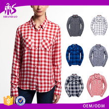 2016 Guangzhou Shandao Supplier Autumn Long Sleeve Checked Cotton Elegant Women Different Types Of Blouse Designs