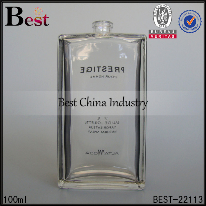 alibaba wholesale square rectangle clear glass black flank side crimp neck design mould empty perfume glass bottle 100 ml