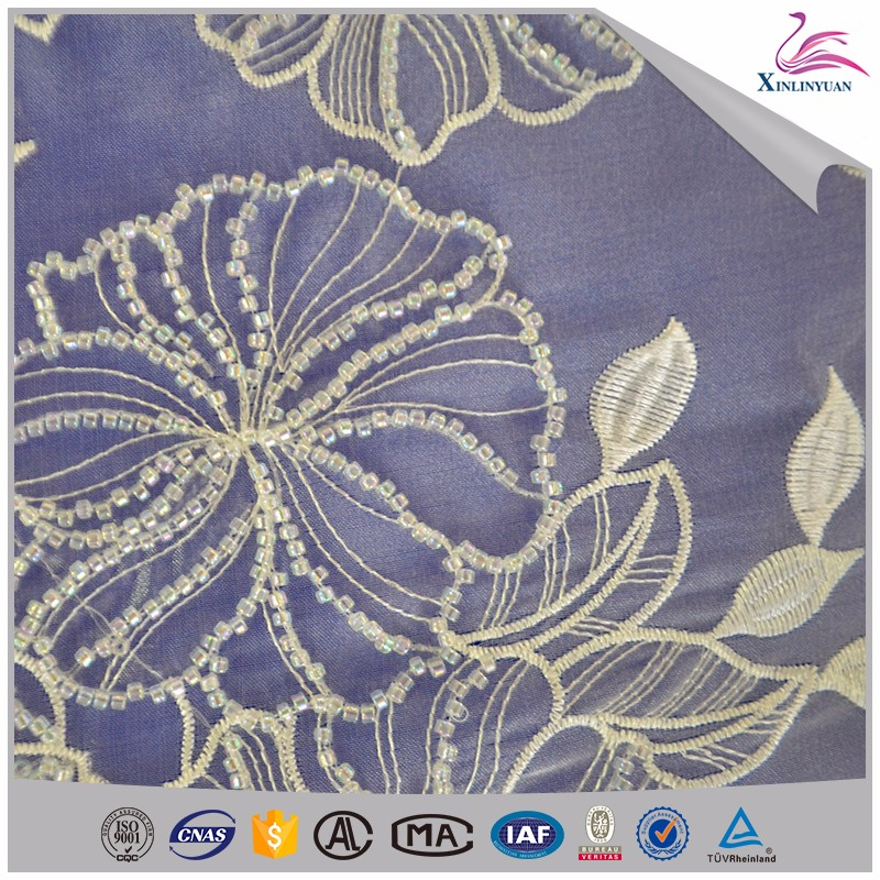 High quality beaded tube lace fabric