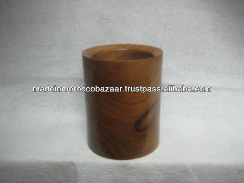 Pretty Moroccan Round Thuya Wood Pen Holder Box 10 cm x 8 cm