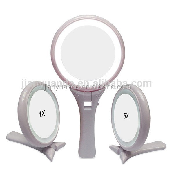 Double sided 5x magnifying handle plastic makeup mirror with led lights