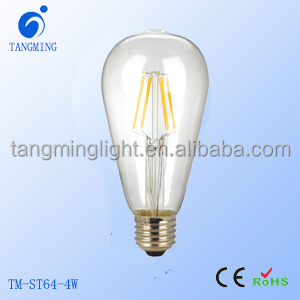 2016 factory wholesale ST64 dimmable led filament bulb for restaurant lighting, led filament bulb lamp