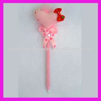 fashion pink plush heart cheap gift pens with bow