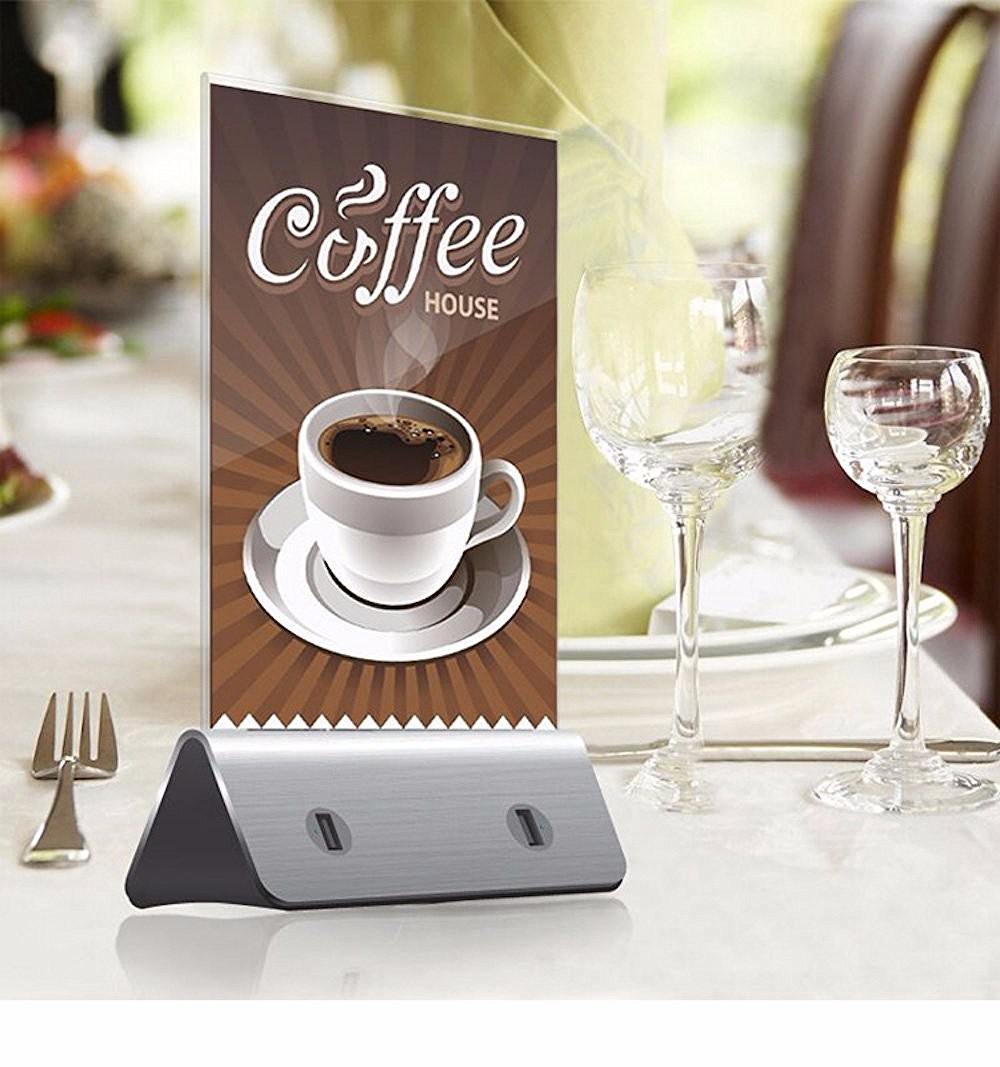 Best interior design menu holder power bank 10000mAh for restaurant With LED Light