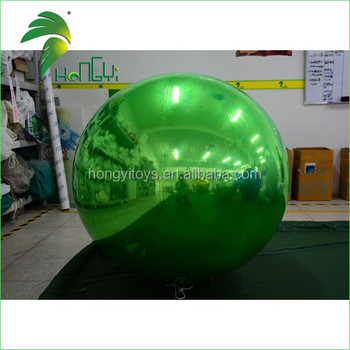 Customize Color PVC0.6mm Inflatable Silver Ball , Reflect Inflatable Green Ball For Sale