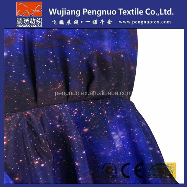 poly spun fabric with heat transfer galaxy printed fabric for sweater