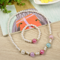 Costume classical design shining christmas necklace best selling colourful acrylic beads pearl necklace jewelry set