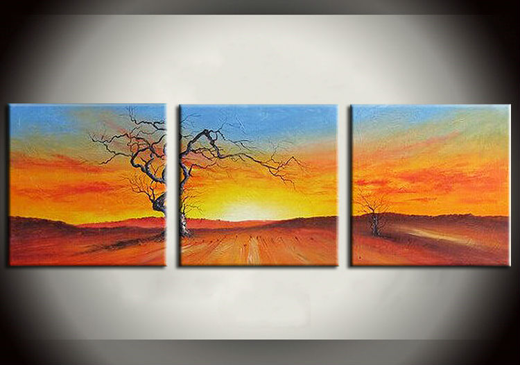 Handpainted Sunrise Landscape Oil painting For Bedroom Painting With Frames Stretched Home Decoration