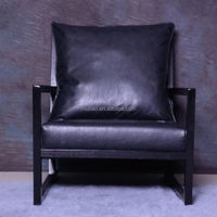 China factory modern wooden chair soft black leather chair