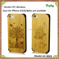 New style, new genuine natutral bamboo wooden back case phone with the tree of life design