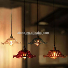 Decorative Lighting With Red Green Blue Black Glass Shade Edison Bulb Vintage Pendant Lighting