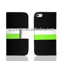 Fashionable Three Color Folio Wallet Style Leather Case for iPhone 5,oem leather case for iphone 5