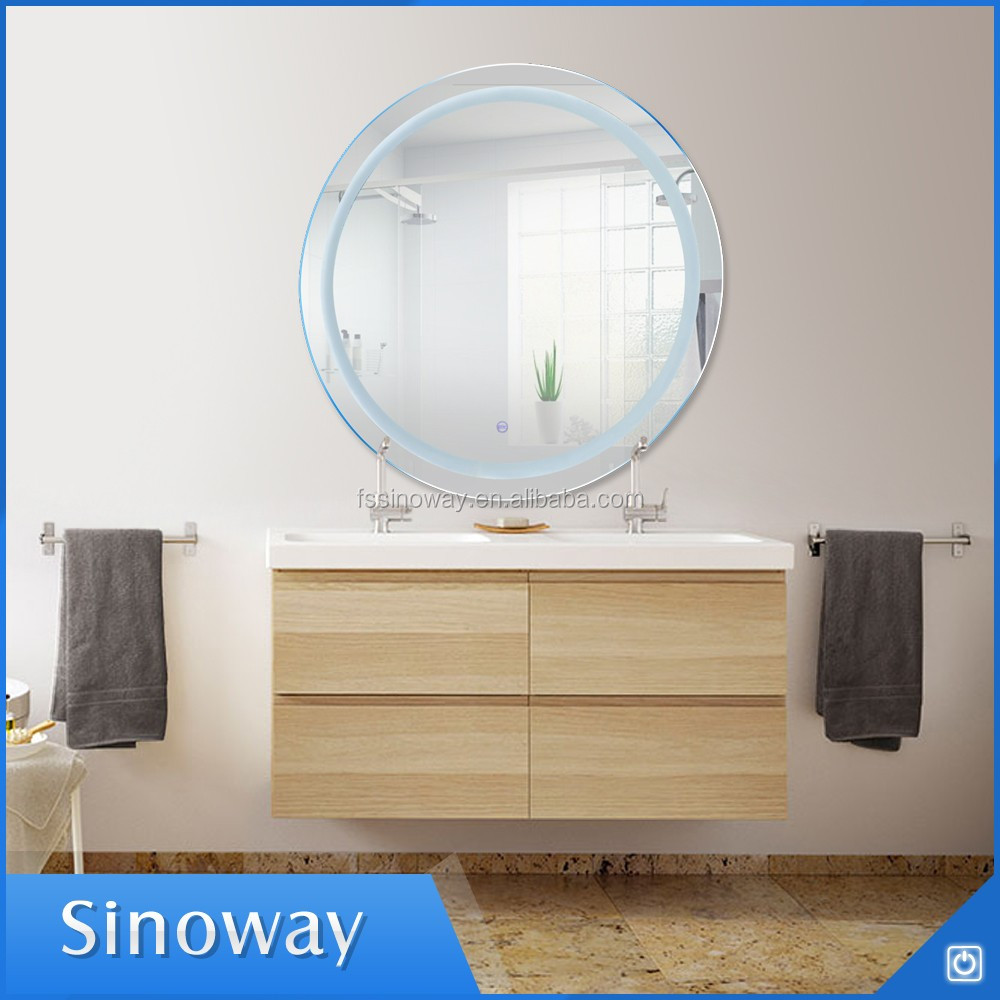 Bath Sink Set Round Beauty Salon Wall Mirrors Bathroom Lighting Mirror with LED Infrared Sensor Switch