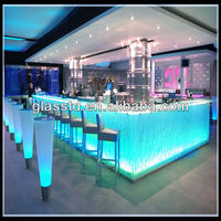 Abstract fused LED- lit glass bar counter top