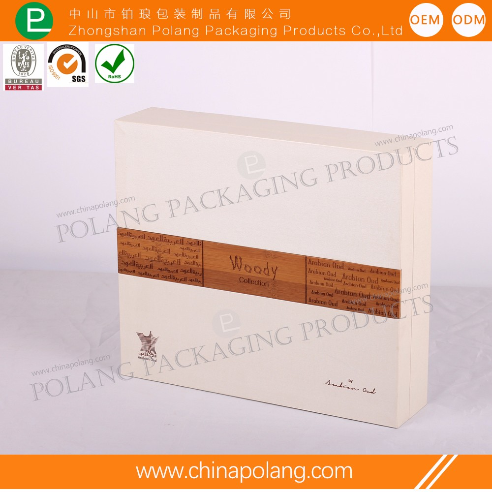 High quality white luxury customized woode perfume box packaging with EVA inner and outside bag