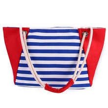 Minzart HS-7 Fashion rope handle large beach canvas tote Bag with zipper closure