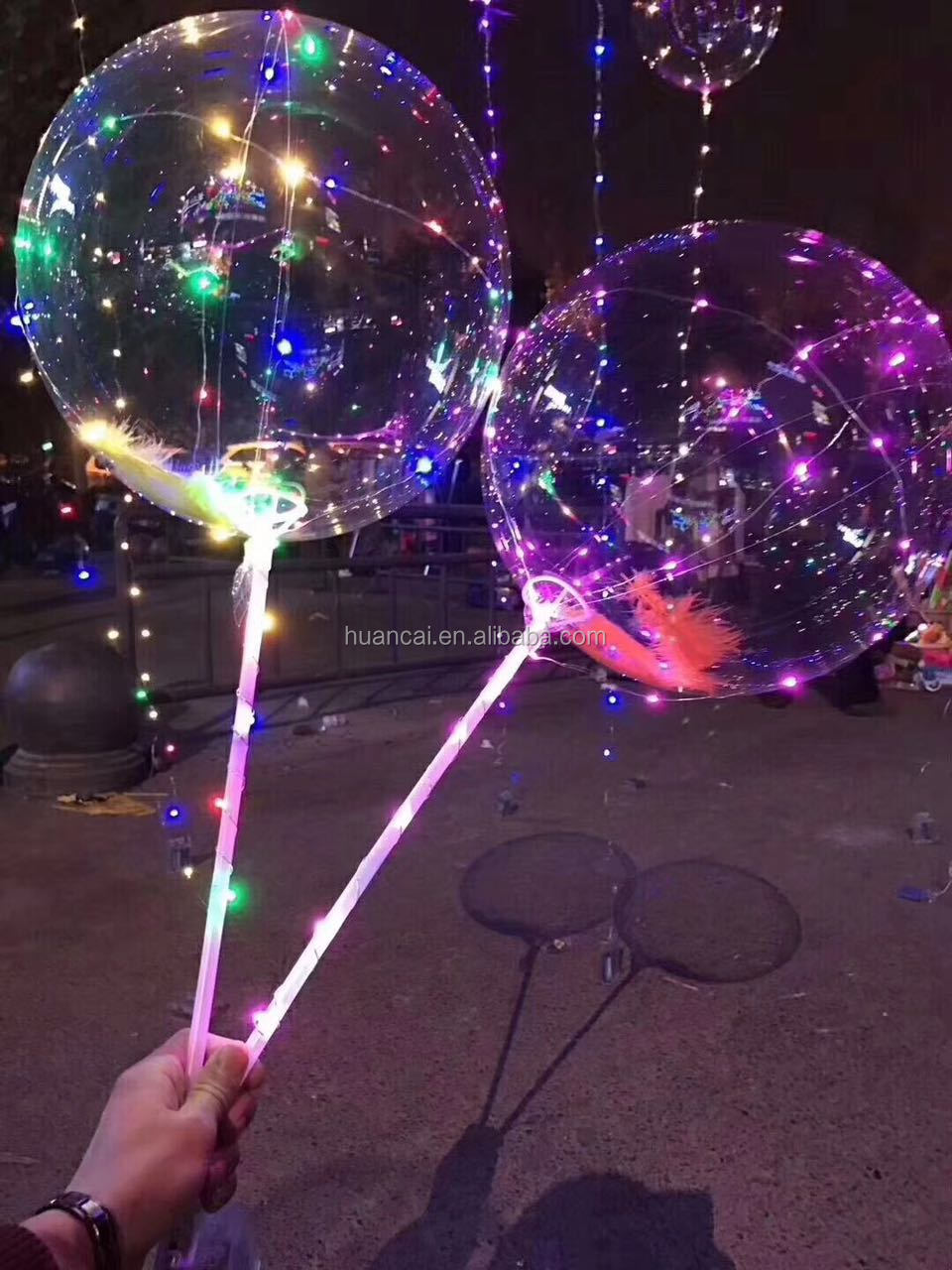 Wholesale Bobo ballon 18 inches LED balloon with String Light and Stick&Cup for Christmas New Year Wedding Party Decoration
