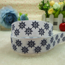 Marine Style ink screen grosgrain ribbon with helm printing