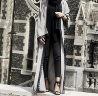 New fashion linen lace front open abaya for women long muslim dress dubai abaya wholesale