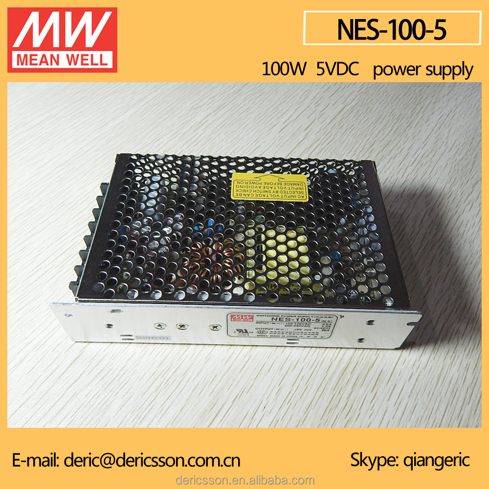 MEAN WELL AC/DC Switching Mode Power Supply 5V 20Amp Output 115/230VAC by switch Input UL CUL CB NES-100-5