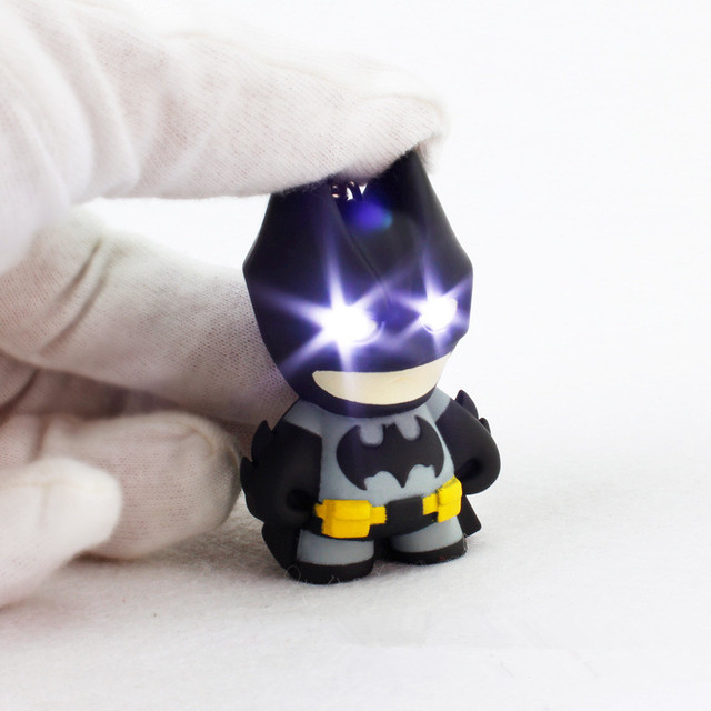 2016 New Arrival Superhero  Batman Led Keychain Flashlight  Pendant Key Chain Cute Action Figure Keyrings Cool Gift ZKBMBS