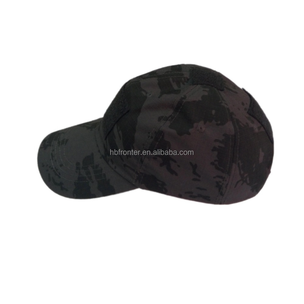 Men Cheap Camo Brim Plain Black 5 Panel Cap