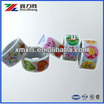 Roll Colorful Food Adhesive Label Stickers, Label in roll, Cartoon children sticker