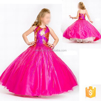 Pretty rosy nice ball gowns shape beading luxury birthday dress for children