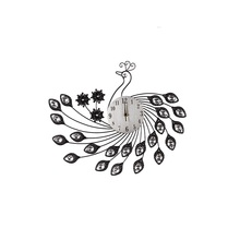 Fancy peacock shaped acrylic diamonds metal decor art wall clock