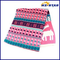 HZW-13735014 New coming deer print animal bohemian acrylic knitted multicolor scarf