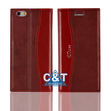 C&T Mobile Phone Case Premium Leather Wallet Stand Case Back Protective Cover for iphone6 plus