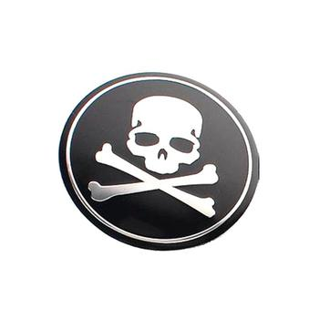 Metal Aluminum Skull Badge Emblem Sticker For Wheel Center Hub