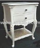French Nightstand 2 Drawers 1 Tray with Rattan