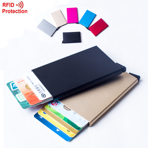 Automatic Pop Up Click Slide Card Holder Thin Metal RFID Card Protector Cases Slim aluminium Credit Card Holder Wallet