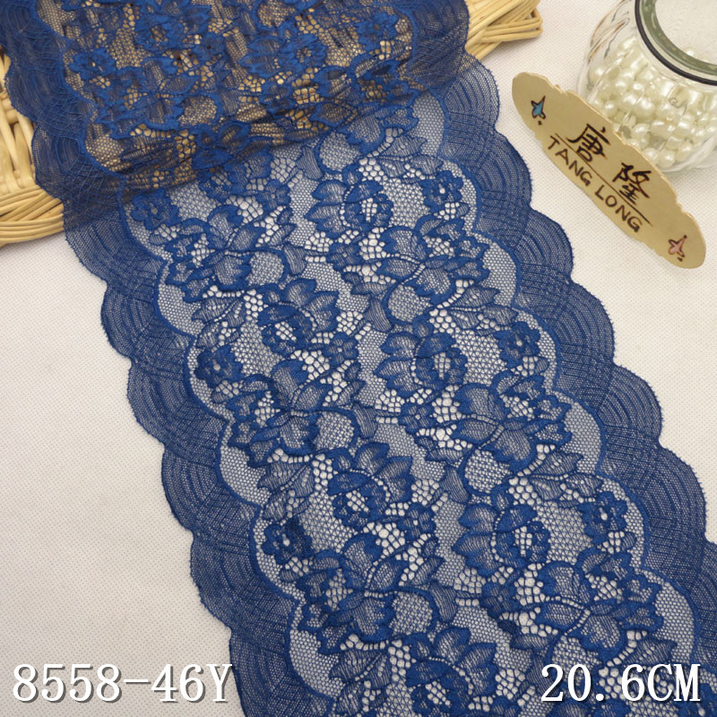 Lace elastic trim wholesale OEM 20.5cm scalloped floral blue stretch lace trim