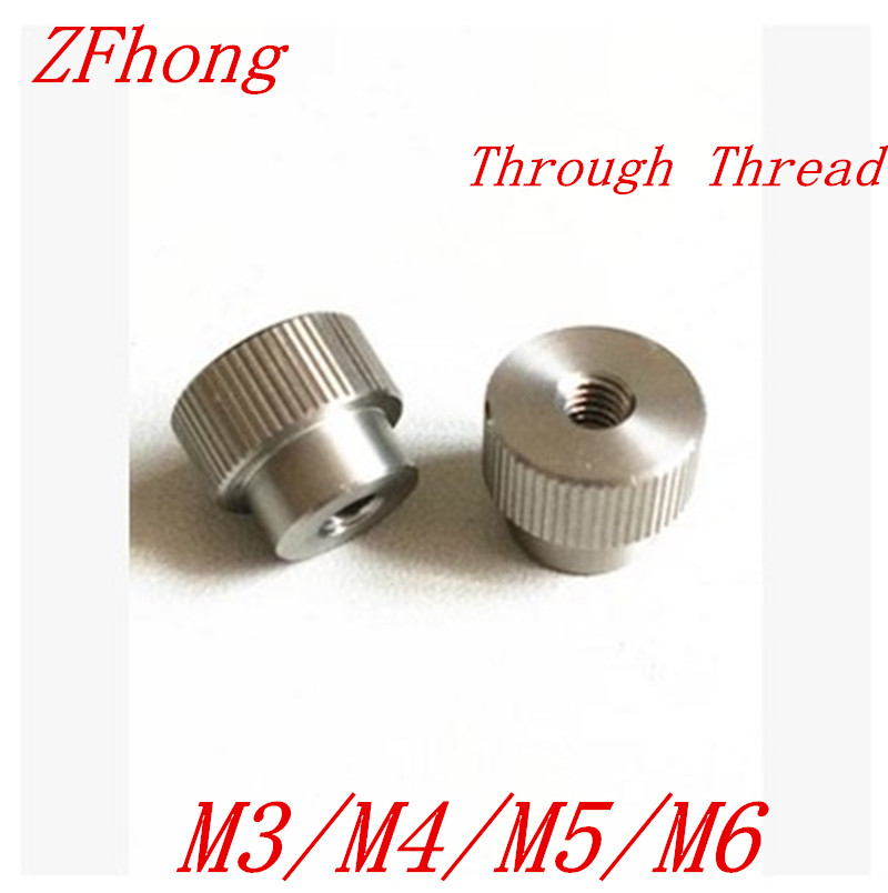 20pcs M3 M4 M5 M6 Stainless Steel Knurl Nut Step Through thread Hand tighten Thumb Nut