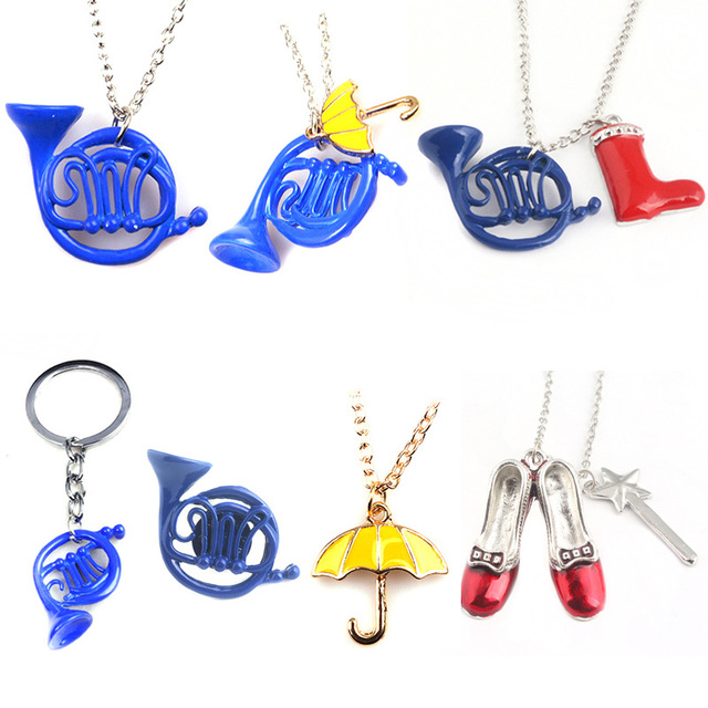 8 style Alice adventure in wonderland shoes umbrella horn charms jewelry pendant necklace for movie fans cute necklace gifts