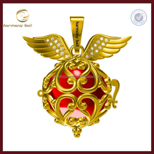 Newest Design yellow gold plate angel wings mexican bola angel caller harmony ball
