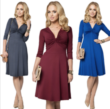 X86490A new fashion summer deep v women formal office designer dress for ladies