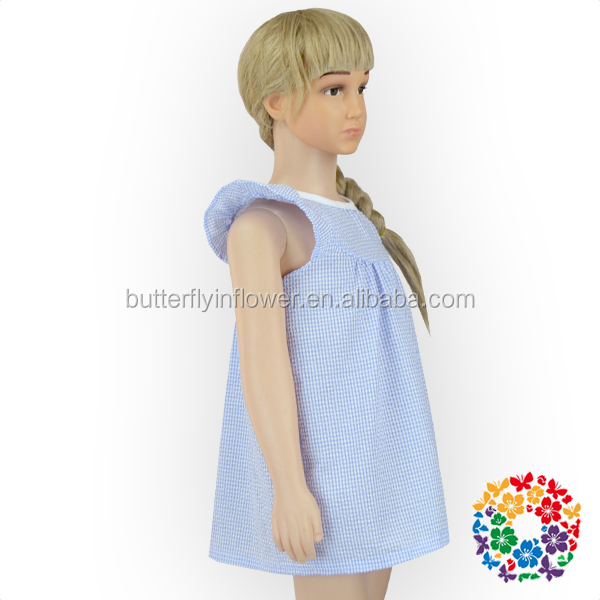 Light Blue Soft Cotton Ruffle sleevle Girl Dress Check Frock Designs One Piece Girls Party Dresses For Small Girls