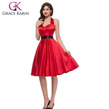 Grace Karin Solid Color Backless Cheap Halter Red Vintage Spired Dress CL006046-2