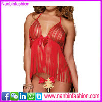 girls red tassels gallus babydoll sexy lingerie set