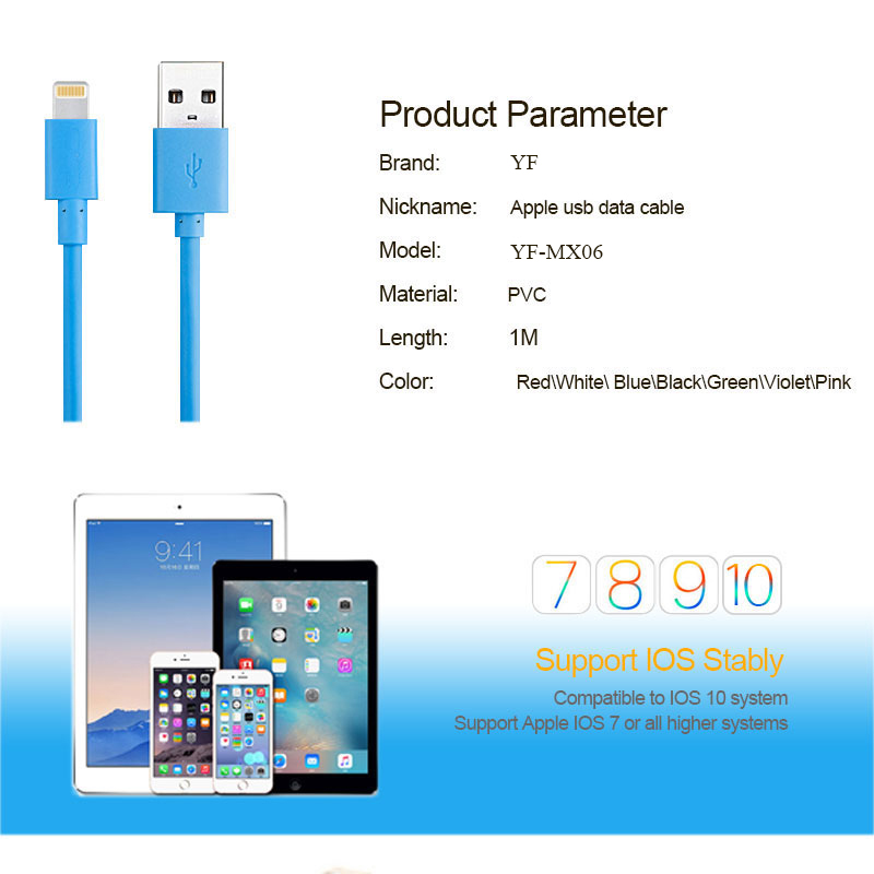 MFi certified manufacturer best selling pvc mfi data cable charging cord for iphone