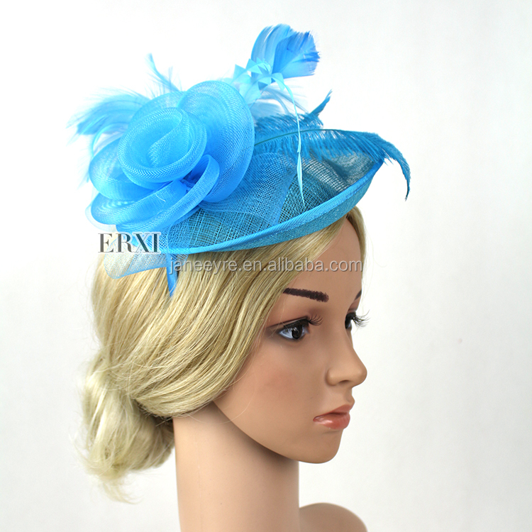 Handmade Fashion Hair Feather Sinamay Fascinator Headband for Women