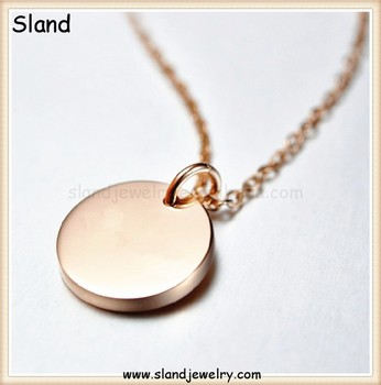 factory direct sale Stainless Steel Blank Stamping jewelry necklace round engrave rose gold