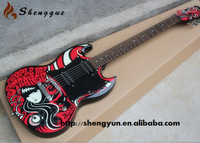 Shengque Decals Body SG Water Transfer Printing Electric Guitar