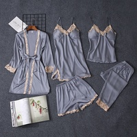 2019 New Style Nightwear for Women Sexy Silk Nightgown Satin Five Pieces Pajamas Set