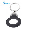 Oval shape black leather keyring